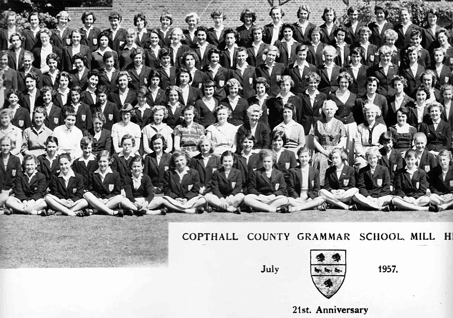 Third left section of the 1957 School photograph for Copthall County Grammar School