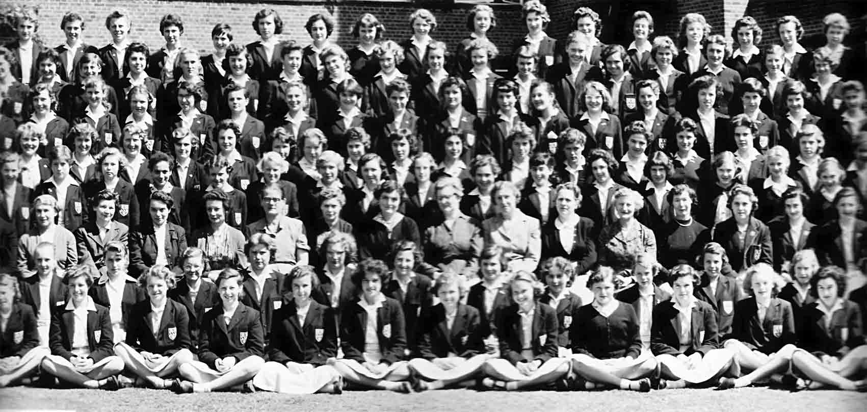 Fourth left section of the 1957 School photograph for Copthall County Grammar School