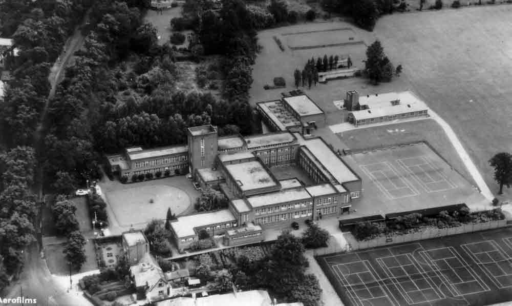 1950s aerial photograph of Copthall County Grammar School, Mill Hill, north London