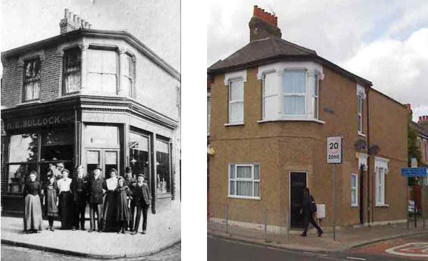 Bullocks General Provision store, Silver Street, Edmonton, early 1900s and now