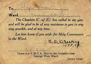 Visiting card of the chaplain of Edmonton Military Hospital, C.D. Drury, dated 25 August 1915