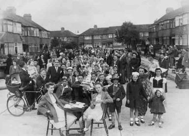 Small scale photo of WW2 VE Day peace party for the roads around Hazel Close, Edmonton, UK