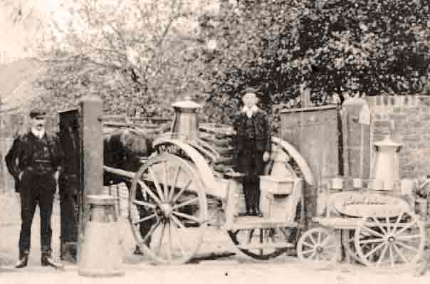 Milk delivery from a dairy in the early 1900s.