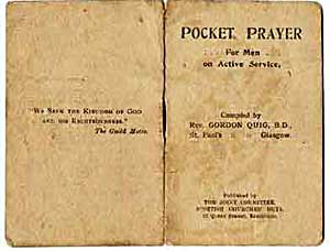 Pocket prayer book, probably given out to wounded soldiers by chaplain of Edmonton Military Hospital in World War One