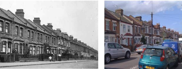 Warwick Road, Edmonton, in the early 1900s and now