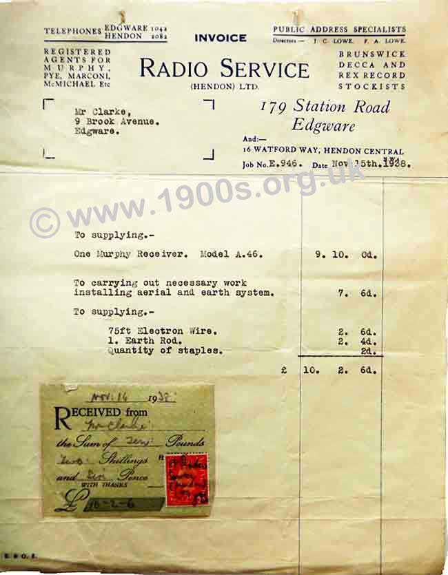 1938 receipt showing cost of a radio (wireless) and its installation