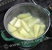 Potatoes and parsnips being boiled