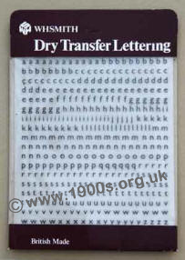 Sheet of dry transfer lettering, also known as Letraset