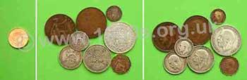 Edwardian silver threepenny bit, silver sixpence, silver shilling, silver two shillings and silver halfcrown.