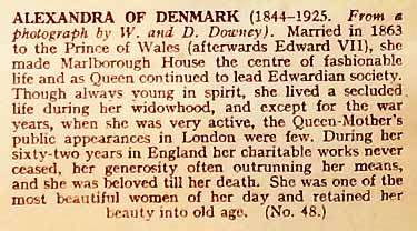 Cigarette card information on Queen Alexandra