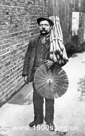 London chimney sweep with equipment, early 1900s