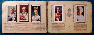 Thumbnail image of a double page spread of a 1930s cigarette card album put up by Players Cigarettes with the theme of English kings and queens 1066-1939.