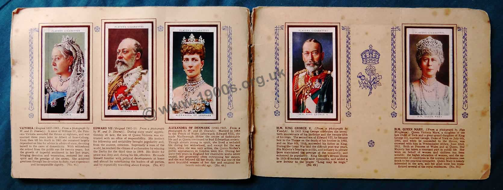 Large image of a double page spread of a 1930s cigarette card album put up by Players Cigarettes with the theme of English kings and queens 1066-1939.