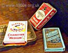 Early 1900s cigarette packets Players Navy Cut, Craven A and Woodbine.