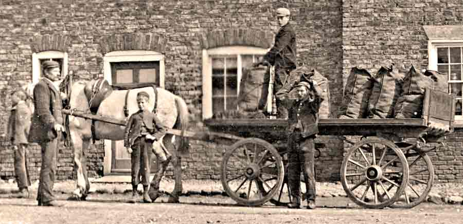 Coal delivery in sacks by horse and cart in early 1900s Yorkshire. One shilling per cwt.