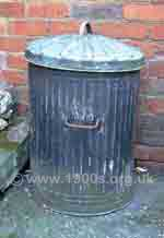 A typical galvanised dustbin as used in the early 1900s