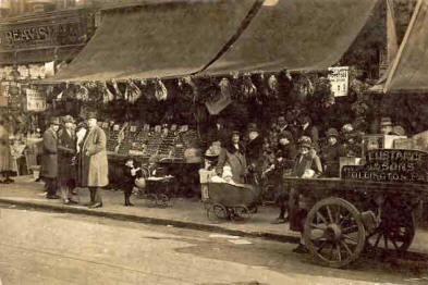 A typical greengrocers of early 1900s London, small image