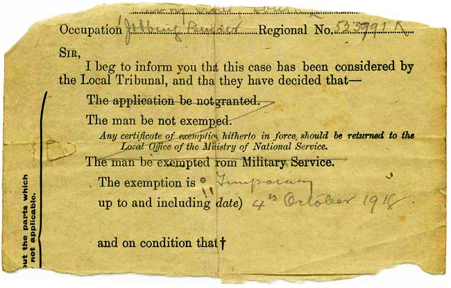 xemption from British WW1 Military Service\