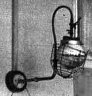 Gas lamp in a school hall in the 1930s