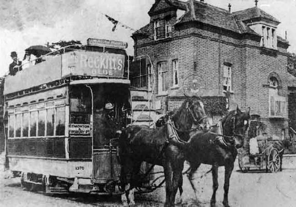 Horse-drawn tram in Edmonton, north London.  c1900