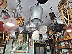 Old ironmonger's ceiling, showing goods hanging for display