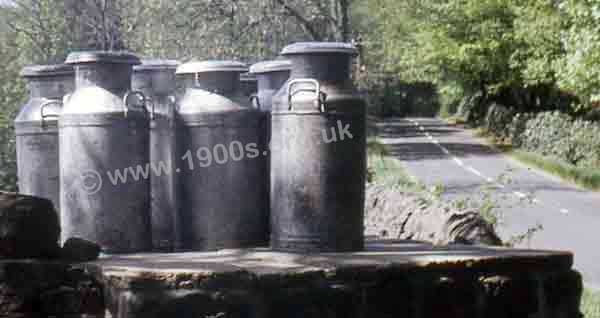 Milk churns waiting by the road-side for collection sometime in the 1970s.