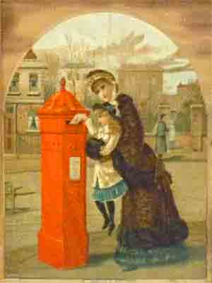 Posting a letter in a Victorian or Edwardian post box