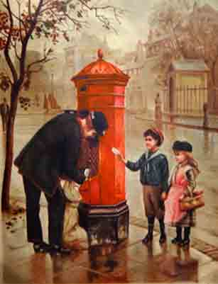 Posting a letter in a Victorian letter box