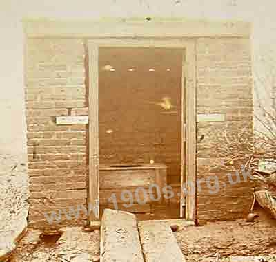 Old brick built privy, 1897, typical of those in use in the early 1900s. Similar outdoor lavatories were still in use in the first part of the twentieth century.