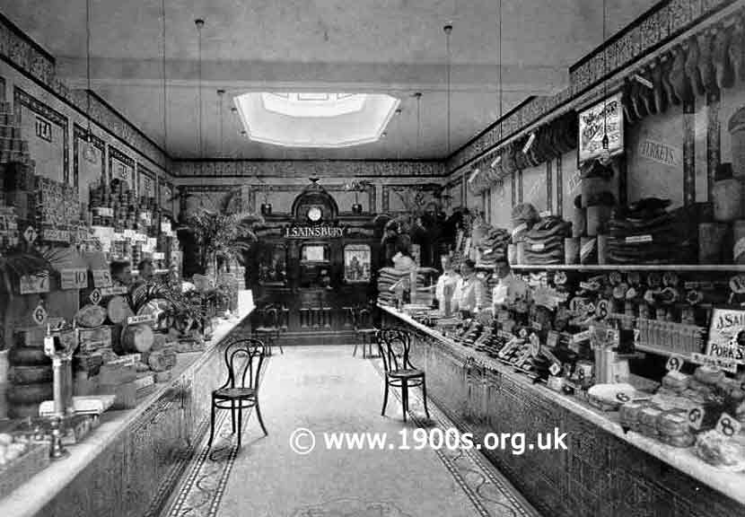 Inside Sainsburys shops, early-mid 20th century