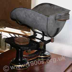 Early 1900s scales suitable for weighing out grain, as used by corn chandlers