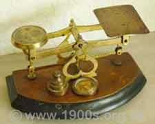 Victorian or Edwardian scales for weighing letters and packages for posting, late 1800s-early 1900s