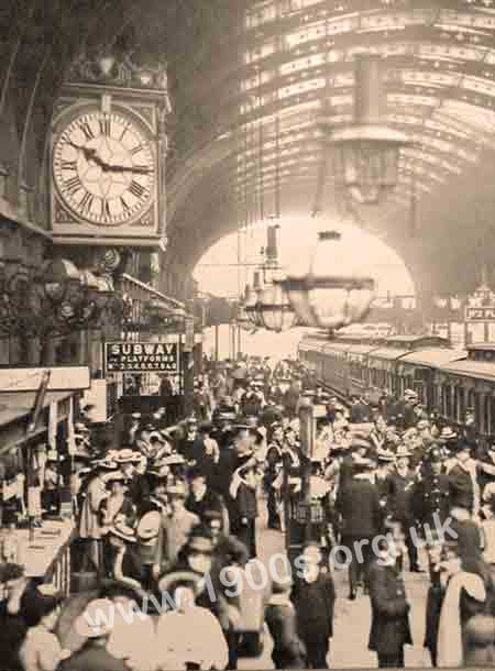 A busy train station in the early 1900s