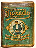Tuxedo tobacco tin, curved to fit comfortably into a man's breast pocket
