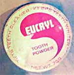 Tooth powder, based on salt and bocarbonate of soda, as used for cleaning teeth in the early 1900s