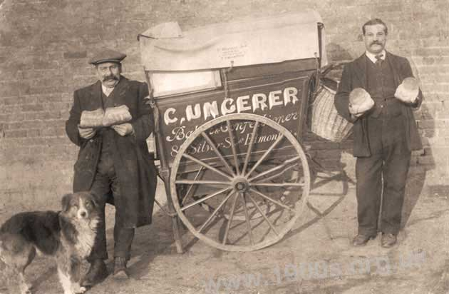 bakers delivery handcart, early 20th century
