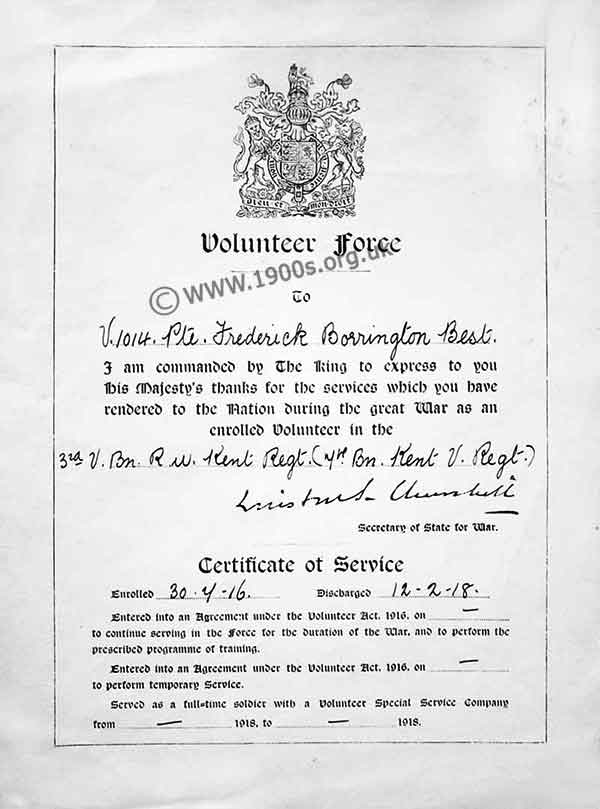 Certificate with signature of Winston Churchill for services rendered in the WW1 Volunteer Force