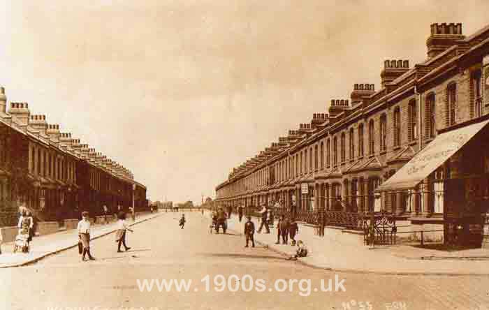 Victorian street of terraced working class houses