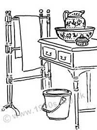 A typical old washstand in bedrooms used by visitors in the early 1900s.
