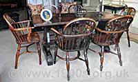 Set of six early 20th century Windsor chairs with an antique wooden table