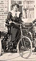 Victorian woman with a bicycle