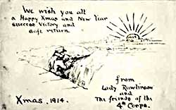 Inspirational WW1 Christmas card for the troops in World War One