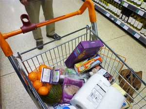 Contents of supermarket trolley