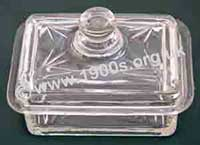 old glass butter dish