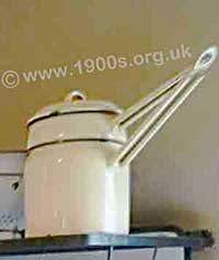 Old enamel steamer for cooking food